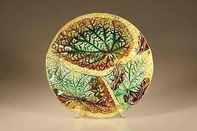 Majolica Aesthetic Movement Round Begonia Leaf Plate c. 1880s
