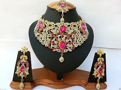 Indian Bollywood Jewellery Set Delicate Style Gold Plated Cerise Clear New -Aq
