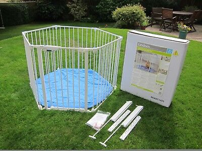 Lindam Safe & Secure Metal Playpen with Blue Base & Wall Fixing Kit