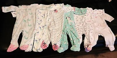 Lot of 6 Infant Girls Footed Pajamas Size 3-6 Months