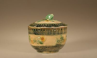 Majolica Aesthetic Movement Rare Jam Pot and Lid , Unknown Maker