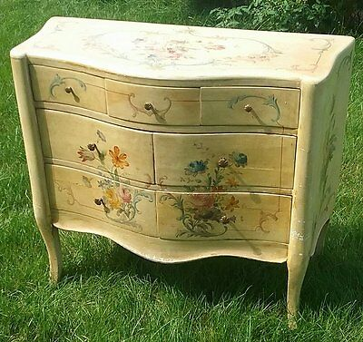 ANTIQUE BEAUTIFUL HAND PAINTED DRESSER NIGHT STAND FLINT & HORNER. Flowers.