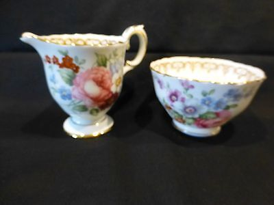 Crown Staffordshire Cream & Open Sugar England's Bouquet - Hd painted J.T. Jones