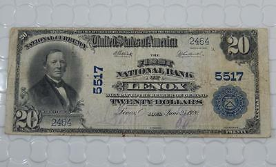 Series 1902 $20 Dollar National Bank Note 5517 First NB Lenox, IA Iowa P0053