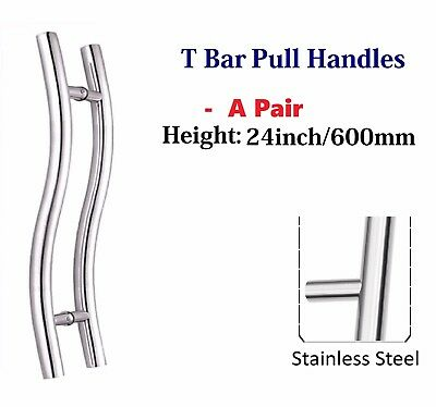 """Set of Long Door curved Push / Pull Handles, Stainless Steel 24"""" /60cm/600mm"""
