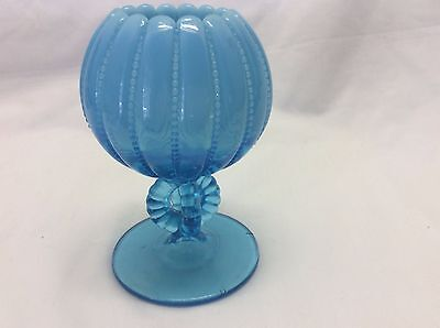 Blue Beaded Opalescent Rose Bowl on Pedestal