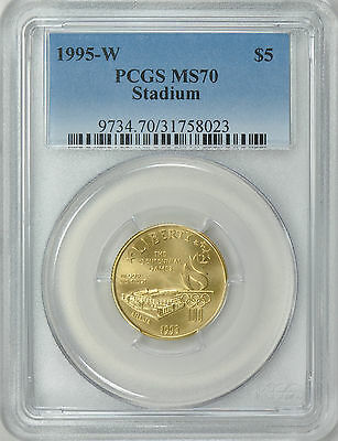 1995-W STADIUM Gold Five Dollar PCGS MS70 $5