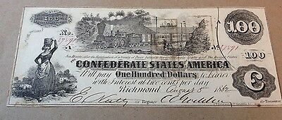 1862 $100 Confederate States of America Large Bill/Note in Stunning Condition!