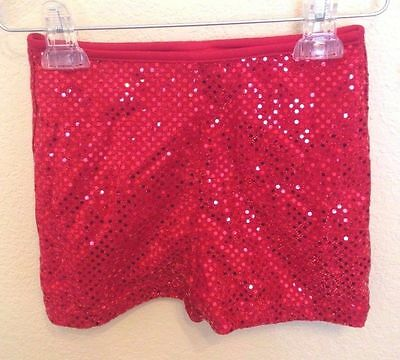 "Adult 2XL (40"") Sequin Dot Red Dance/Cheer Boyshort"