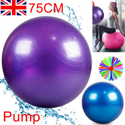 75Cm Gym Ball Exercise Yoga Swiss Core Fitness Ab Abdominal Body Tone Workout
