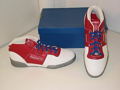 Reebok Workout Mid Ice Classic Trainer White Red Leather Sneakers Shoes Mens  11 f6f86bdc7