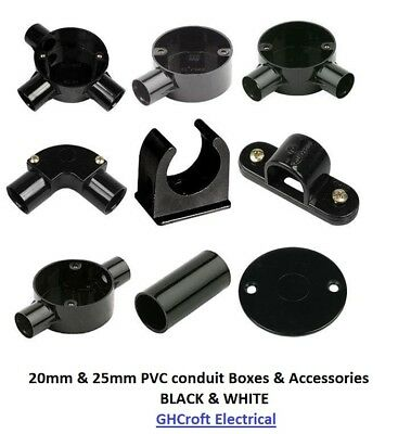 PVC conduit boxes & Accessories - 20mm/25mm White & Black  BUY 2 GET 1 @ 20% OFF