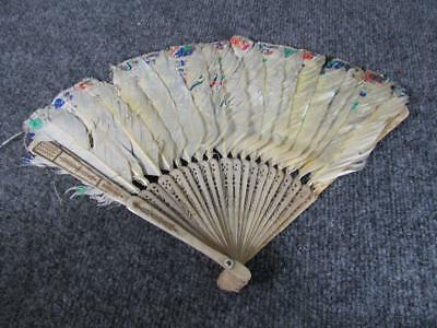 ANTIQUE CHINESE HAND PAINTED LADIES FAN with FEATHERS....AS IS