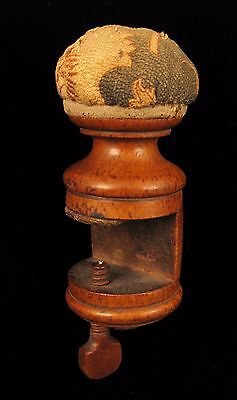 Antique 19Th C Burl Wood Sewing Clamp On Pin Cushion Vintage Linen Fabrics Rare!