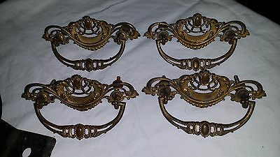 "LOT of 4 Ornate Openwork Antique Cast Brass Victorian Pulls 4 7/8"" w/ 3"" Centers"