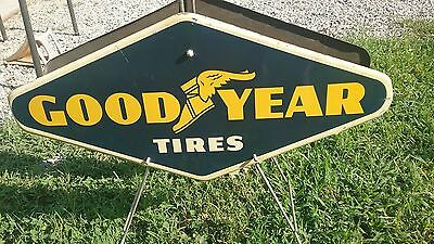 Goodyear Tire Display Stand 2 Signs 1961 Non Porcelain