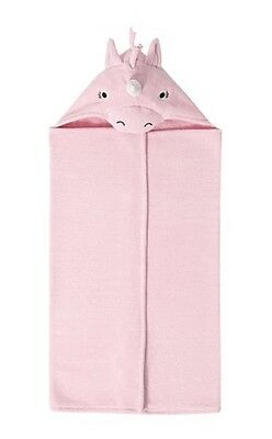 Pottery Barn Hooded Towel Unicorn Baby Bath Wrap Pink New With Tags