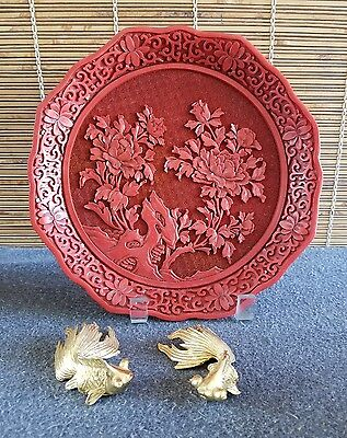 Chinese Cinnabar Floral Plate and Metal Koi Fish Grouping