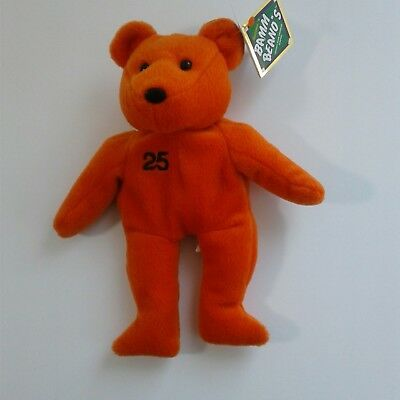 NWT BAMM BEANO's Barry Bonds #25 Collector Bear Orange and Black Issued Aug 1998