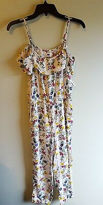 NWT Old Navy Girls 10-12 Floral Romper Outfit CREAM PINK GREEN One Piece #104817