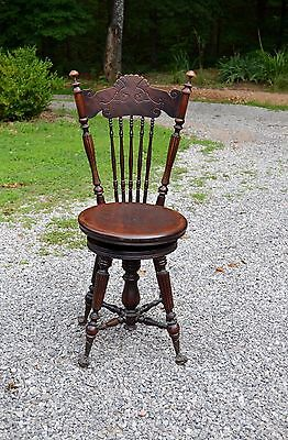 Antique Wooden Piano Stool Chair High Back Ball Claw Glass Ball Feet Swivel