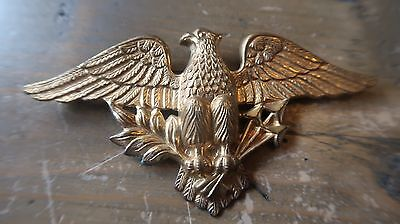 Antique Gold Tone American Eagle Brooch 9.5 x 5 cm