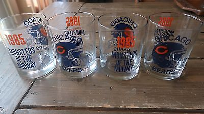Vintage Chicago Bears 1985 Championship Whiskey Glass Set of 4