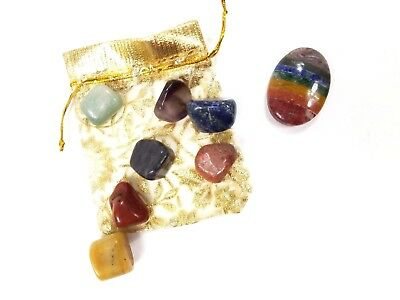 7 Chakra Tumble Worry Stones Set with Pouch with Bonded Layered Worry Stone