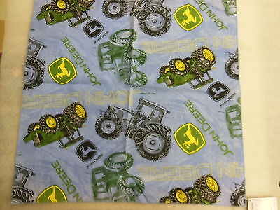 "JOHN DEERE cotton Bandana w/ Tractors in classic green & blue 21"" x 21"" - NEW"