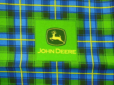 "JOHN DEERE Cotton Bandana w/ classic Deer Logo green & blue 21"" x 21"" - NEW"