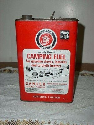 Vintage 70's BORTZOIL Camping Fuel 1 Gallon Can
