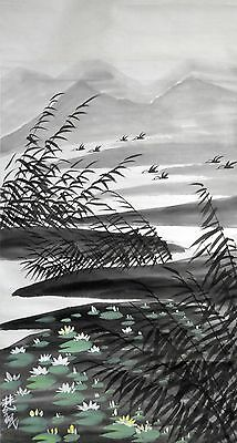 Vintage Chinese Watercolor Lotus Pond Wall Hanging Scroll Painting