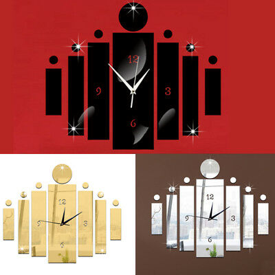 3D Art Design Acrylic Mirrored Digital Wall Clock Home Office Study Decor DIY