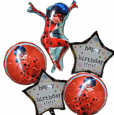 5Pces Miraculous Ladybug Black Polka Dots Balloon Birthday Party Supplies Decor
