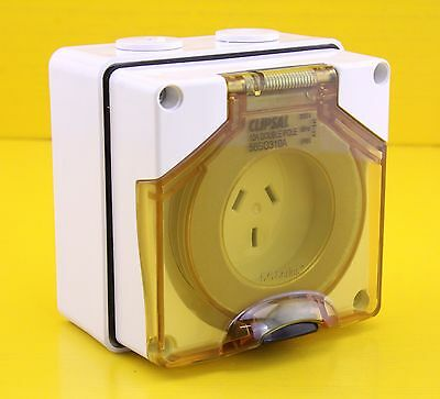Clipsal 56SO310A Surface Mount Socket Outlet One Phase 250V 10A Double Pole IP66