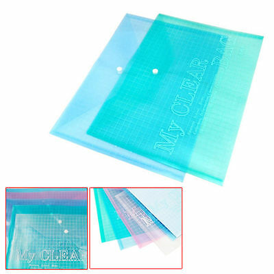 5Pcs A4 Stud Plastic Popper Files Folders Document Wallet Office Depot Study New