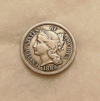 """1889 Three Cent Nickel - Scarce """"KEY"""" Date - Very Nice Looking Coin"""