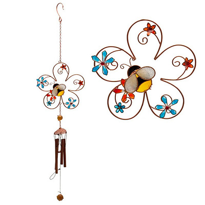 Bee and Flower Colourful Design Wind Chime - Glass, Metal, Resin Home and Garden