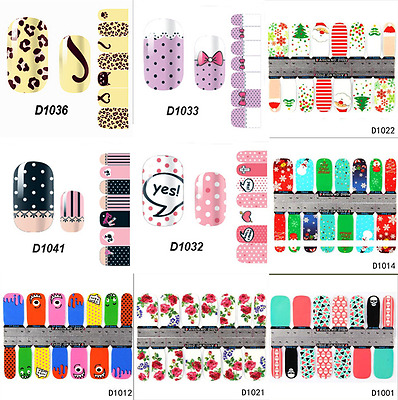 Women Nail Stickers Adhesive Water Transfer Decals Polish Tips Stencil Manicure