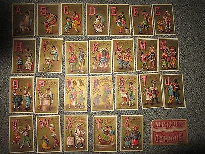 Alphabet Comique French Victorian Trade Card Set S.D. Sollers Fine Shoes
