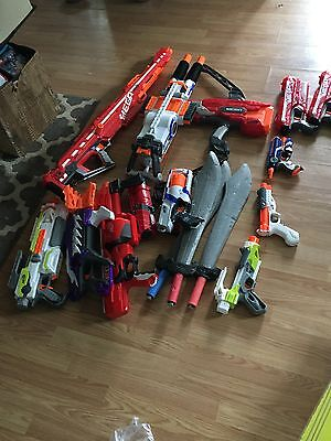 Nerf gun lot sixteen weapons and attachments