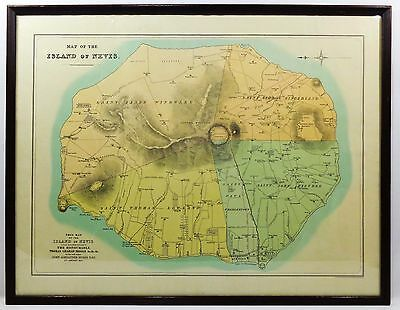 Rare 19Th C. Antique Framed Color Map Of Caribbean Island Nevis (British) 1871
