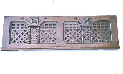 Vintage Header Pediment Mantel Mantle Fireplace Entryway Fretwork Oak Interior