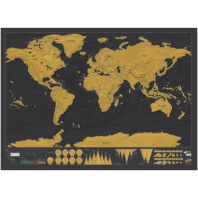ASDOMO New Deluxe Travel Edition Scratch Off World Map Poster Personalized Journ