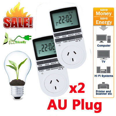 2xProgrammable Digital Electronic Power Timer Switch Socket 240V 10A AU Plug in