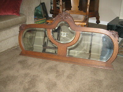 Antique Oak Frame With Three Beveled Mirrors