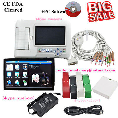 CONTEC ECG600G 6-Channel 12-Lead Digital Cardiology EKG ECG Machine, w/software