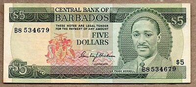 Barbados XF Note 5 Dollars 1973 P-32