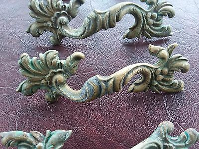 VINTAGE MID CENTURY BRASS w/ Patina DRAWER PULLS set of 50 swirl floral design
