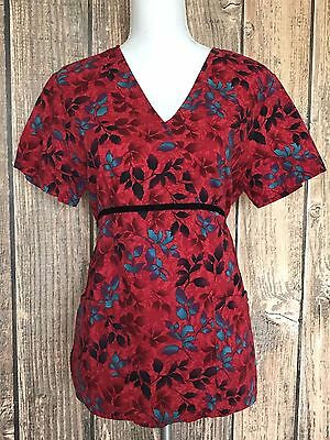 sb scubs womens size small red leaf print tie back nature leaves 100 cotton